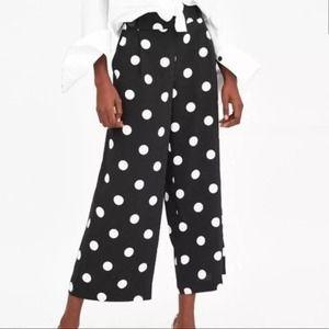 Zara Trafaluc polka dot wide leg cropped pants